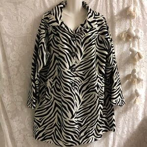 UBU zebra print trench coat sz XL like new